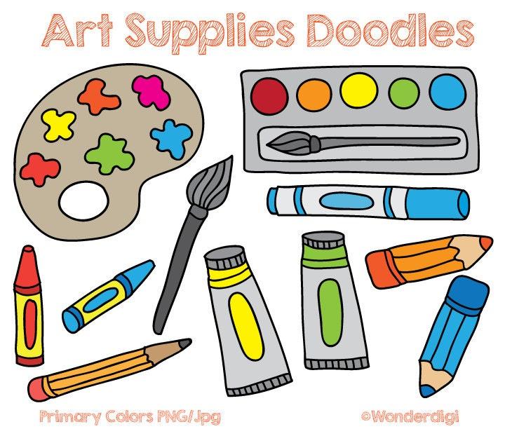 Art supplies clip art doodles kids clipart school for Children s arts and crafts supplies