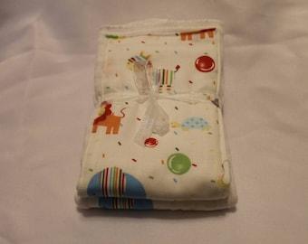 Set of 2 Zoo Print Cloth Diaper Burp Cloths