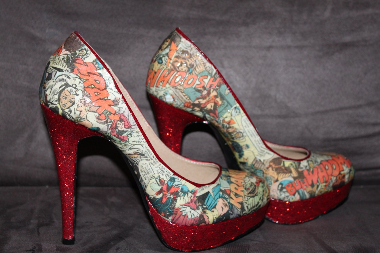 classic comic book high heel shoes by comicisshoes