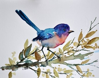 ORIGINAL Watercolor Painting, Blue Bird, Watercolor Bird 6x8 Inch