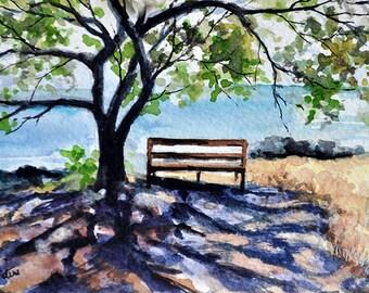 ORIGINAL Watercolor Landscape, Coastal Painting 4x6 inch
