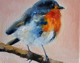 Original Impressionist Oil Painting, Whimsical Robin Painting 6x6 Inch