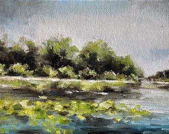 Original Oil Painting, Impressionist Lake Painting Landscape 5x7 Inch