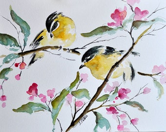 ORIGINAL Watercolor Painting - Yellow Birds on a Branch and Pink Flowers Illustration 6x8 inch
