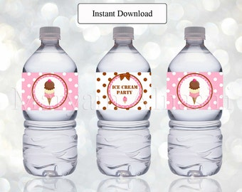 Printable bottle label ,ice cream theme ,pink and brown , Instant Download , DIY - digital file