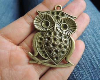5Pcs 50X35mm Antique Bronze Owl (A390)