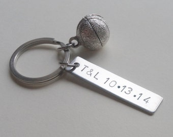 Basketball Keychain, Couples Keychain, Anniversary Key Ring Gift, Date or Initials Hand Stamped, Husband Wife Girlfriend Boyfriend Gift