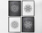 Mandala Art, Mandala Print, Black and White Art, Minimalist Art, 4 Set Mandala Wall Art, Modern Decor, Living Room Art, Geometric Art, 0366