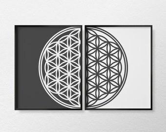 Mandala Art, Flower of Life Print, Mandala Print, Minimalist Art, Modern Decor, Sacred Geometry Art, Black and White Art, 0369