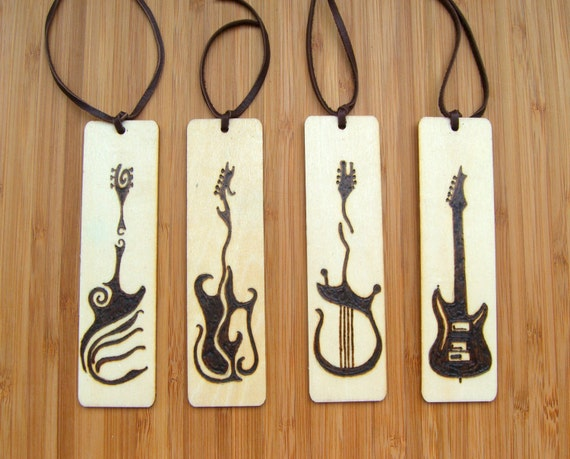 Wood Burned Bookmark Set, Handmade Pyrography Bookmark, Guitar Art, Musician gift, Christmas Gift