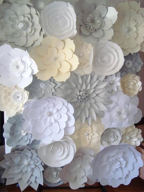 DIY Paper Flower Backdrop Ivory Grey White By DreamEventsinPaper