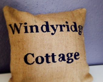 Personalised handmade House Name ( or number) Hessian Cushion Cover