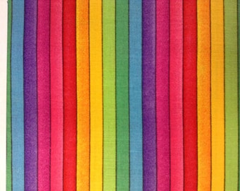One Half Yard  of Fabric - Narrow Rainbow Stripe, Rainbow Fabric