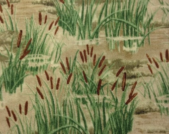 One Half Yard Piece of Fabric Material  - Cattails