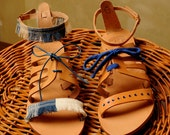 Handmade Leather Sandals decorated with natural & blue shades.