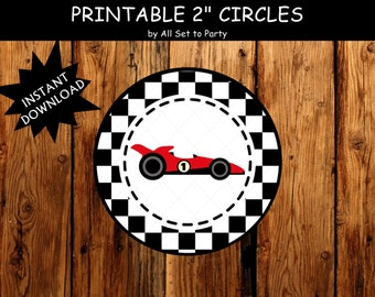 Race Car Party, Race Car Birthday Printable, Race Day Birthday, Boy 1st Birthday, Checkered Theme, Cupcake Toppers  -Instant Download