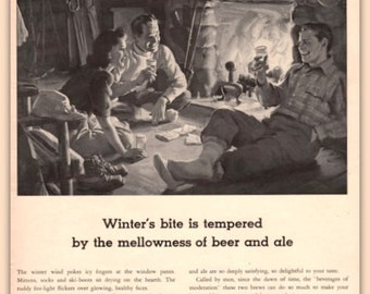 1942 Beer and Ale vintage print ad, Winter's bite is tempered by mellowness, United Brewers,