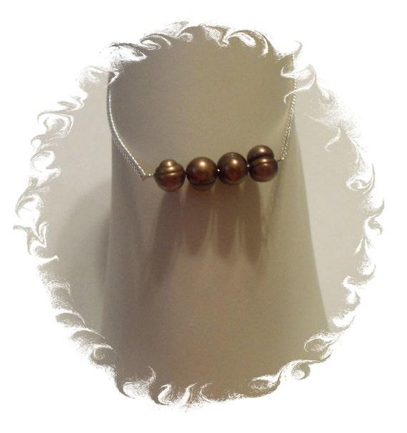 Freshwater Pearl Ankle Bracelet - 925 Sterling Silver Anklet Jewelry, Brown Pearl Ankle Bracelet, Freshwater Pearl Anklet, Silver Anklet