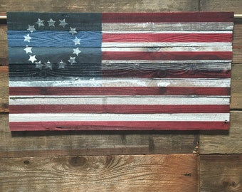Vintage American Flag Hand Painted Refurbished Wood 19''X36'' 4th of July
