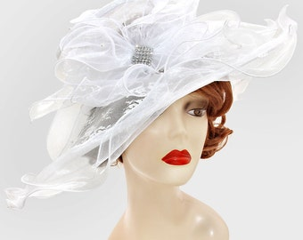 2016 White Wedding Dress Hat Floral Lace Kentucky Derby Hat Women Wide Brim Church Hat New