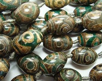 Tibetan Agate DZI Oval Barrel beads  27x19mm , Handcrafted beads, Tibetan Beads , DZI beads, Tibetan DZI Bead