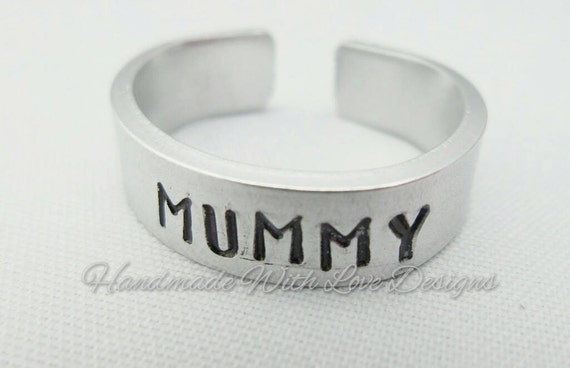 Mummy Hand Stamped Cuff Ring