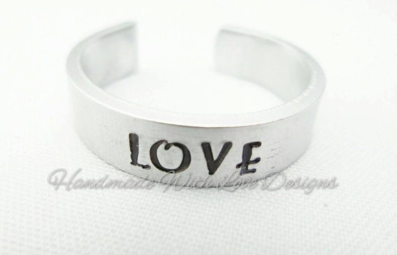 Love Hand Stamped Cuff Ring