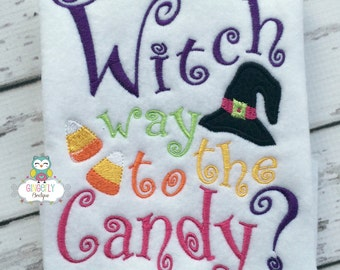 Witch Way to the Candy Shirt or Bodysuit, Halloween Shirt, Halloween Candy Shirt, Girl Halloween, Hocus Pocus