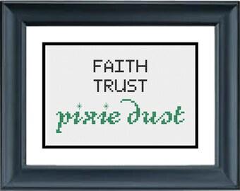 Faith Trust Pixie Dust - Peter Pan - Disney - PDF Cross-Stitch Pattern