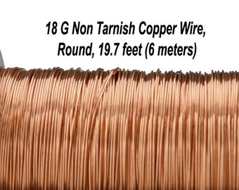 18 Gauge (1 mm), Non Tarnish  Copper Wire, Round, Soft, 19.7 feet (6 meters), Made in UK