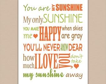 Orange, green and brown typography nursery Art Print, Children wall art, Baby boy Room Decor, you are my sunshine, woodland - UNFRAMED