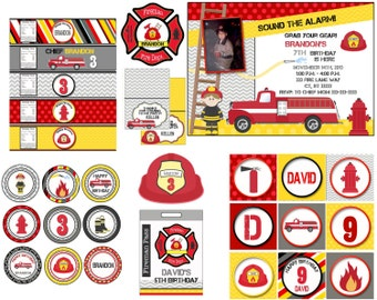 Fireman party, Fire truck birthday,   firefighter party, firefighter birthday  fireman birthday fireman invitation firetruck  printable