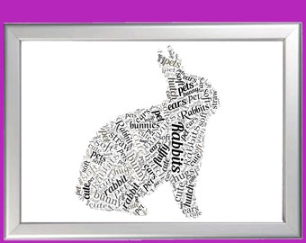 Personalised Bunny Rabbit Word Art Cloud - Perfect gift Birthdays or Pet owners