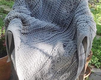 "Heather Gray Acrylic Yarn Crochet Cable ""Knit"" Blanket"
