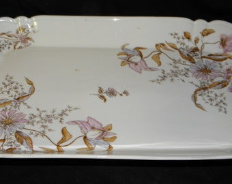 """Antique Rectangular Serving Platter Marked 2230(0)~Lovely Pink/Purple Flowers   Approximately 2 1/8"""" tall x   10 1/2"""" wide x 17 3/4"""" long"""