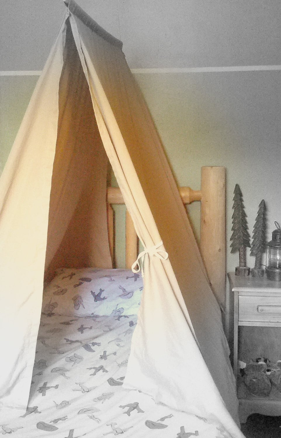 Twin size bed tent custom kids teepee canopy for boys or for How to create a canopy