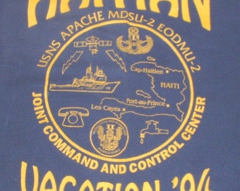 "US Navy USNS Apache ""Haitian Vacation 1994"" T-Shirt size Extra-Large"