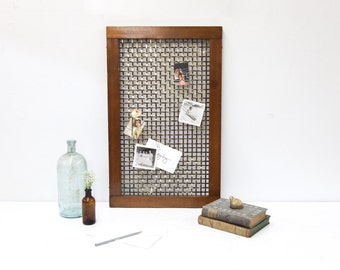 Brass & Wood Basket Weave Vent Cover Used as an Inspiration Board