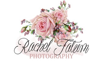 """Custom Premade Photography Logo and Watermark """"Roses"""" - Fully Customizable Font and Color"""