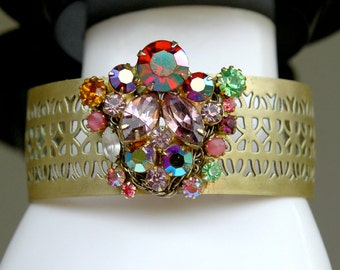 Rhinestone Cuff Bracelet from Vintage Components