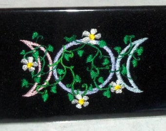 Checkbook Cover,Triple moon ,Wiccan Pagan ,Embroidery,Triple Goddess