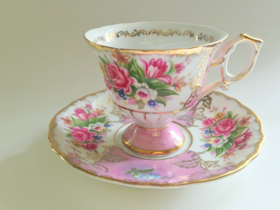 Antique Shafford Pink Roses Tea Cup And Saucer Pink Roses