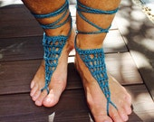 Crochet Barefoot Sandals / THE CUPSOGUE / Womans Barefoot Sandals / Bohemian / Beachwear / Bridesmaid / One Size Fits All /