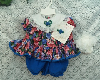 Blue Baby dress pink flower print Size 3/6M, 9M, and 18M