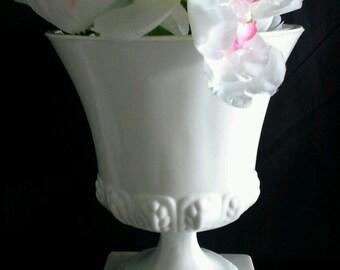Beautiful  White Glass Urn Pedestal Vase