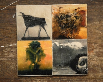 Visions of Hell Tile Coasters - Set of 4 // Polish // Hellish // disturbing // dark decor // creepy // weird // unusual // underworld