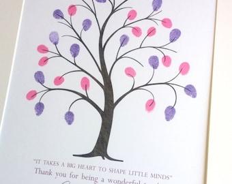 Teachers Gift, Personalized Teacher Tree, Custom Gift for Teacher, Teacher Appreciation, Fingerprint Tree Classroom Gift, End of Year Gift