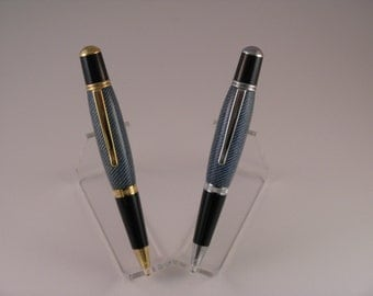 Handmade Wall Street III Laminated Blue Denim Twist Ball Point Pen (24 Kt Gold  or Chrome finish )