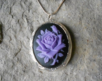 Cameo Locket!!! Purple Rose on Black!!! High Quality!!!  Weddings, Photos, Keepsakes, Christmas