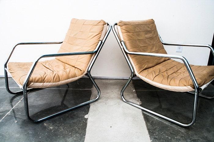 Remarkable Mid Century Modern Chrome Lounge Chair Set Pair Leather Evergreenethics Interior Chair Design Evergreenethicsorg